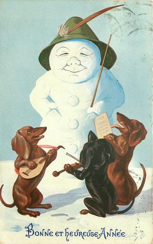 snowman in green hat conducts three dachshunds playing instruments & singing