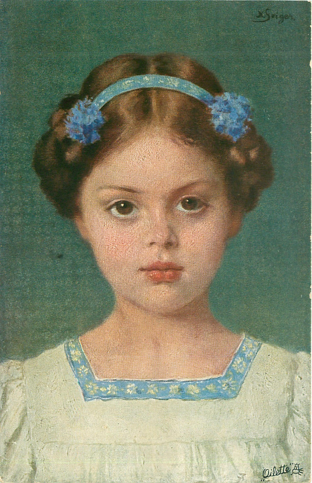 head & shoulder study, girl with hair up under blue headband with cornflowers, wears white dress with blue trim, faces & looks front