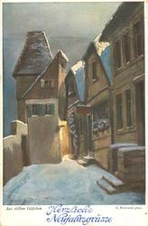 snow scene, alley with tall houses right & at end, steps to house right