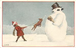 snowman right, holding bottle, wearing top-hat & smoking, is attacked by French bulldog restrained by girl left