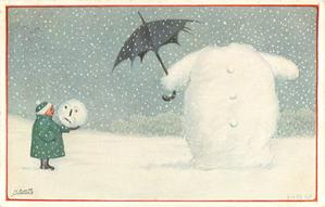 snowman right, holding umbrella,  has lost his head, boy in green left  holds it