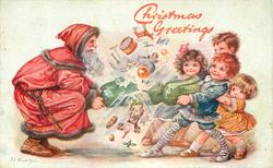 CHRISTMAS GREETINGS  Santa pulling cracker with four children
