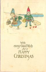 WITH EVERY GOOD WISH FOR A HAPPY CHRISTMAS  upper inset two costumed children in snow