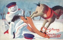 two snowman dressed as German soldiers, one falls off wooden horse