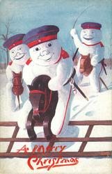 three snowman dressed as German soldiers, each on a wooden horse one jumps a fence
