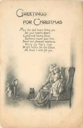 GREETINGS FOR CHRISTMAS  (woman and child on chair by fire)
