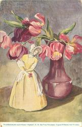 purple tulips in glossy purple vase on table, china statuette, yellow dress, stands left