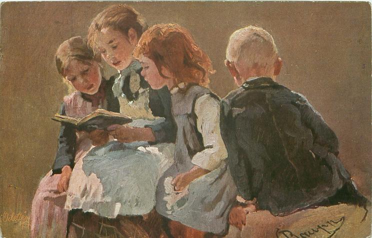 Girl Sitting Facing Away Three Girls Sit Reading Facing