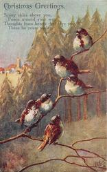 CHRISTMAS GREETINGS  (seven nightingales on branch, forest in background)