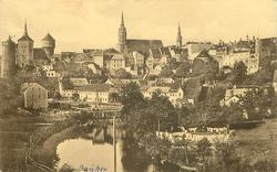 closer view of Bautzen, prominent river. three steeples