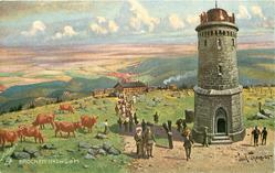BROCKEN-1142M.U.D.M. monument right, cows left, day scene