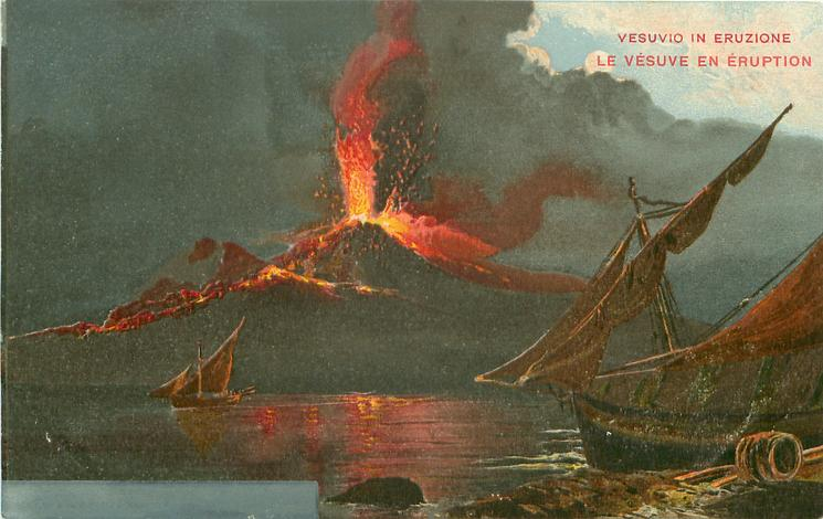 eruption high centre, sailing boat by shore front right, another in sea distant left