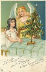 A BRIGHT AND HAPPY CHRISTMAS TO YOU  angel stands beside girl sitting up in bed, holds Xmas tree