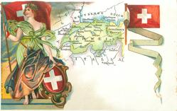 map, flag, crest & woman of Switzerland