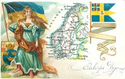 map, flag, crest & woman of Sweden