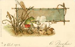 fisherman frog sits smoking pipe with oar & net over shoulder, large net behind
