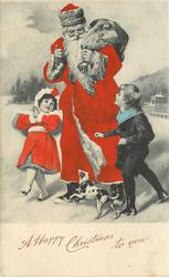 A HAPPY CHRISTMAS TO YOU santa walks front left, sack over shoulder, talking to two children, dog below