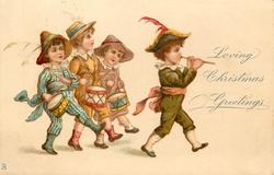 LOVING CHRISTMAS GREETINGS four children parading right (pipe and drums)
