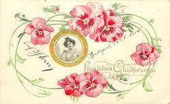 HERZLICHEN GLUCKWUNSCH  nouveau style gilt inset, showing woman looking front, pink pansies