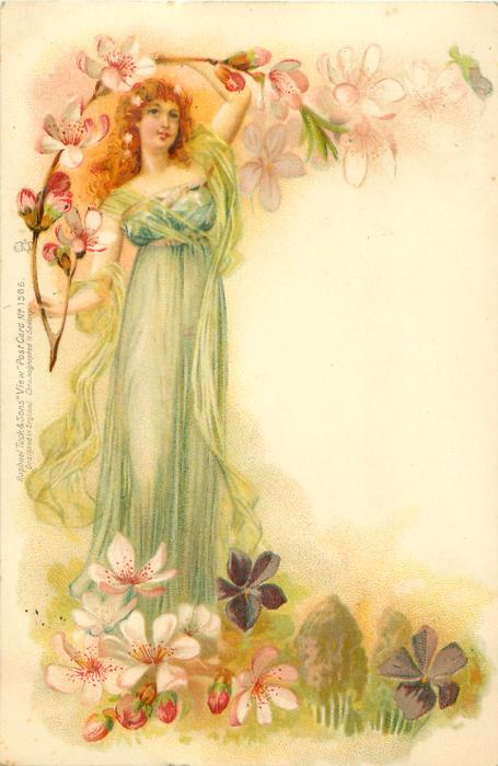 fairy in light green faces front, with apple blossom