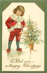 TO WISH YOU A HAPPY CHRISTMAS  boy in red talks to a personalised christmas tree