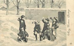 MERRY CHRISTMAS GREETINGS  children throwing snowballs