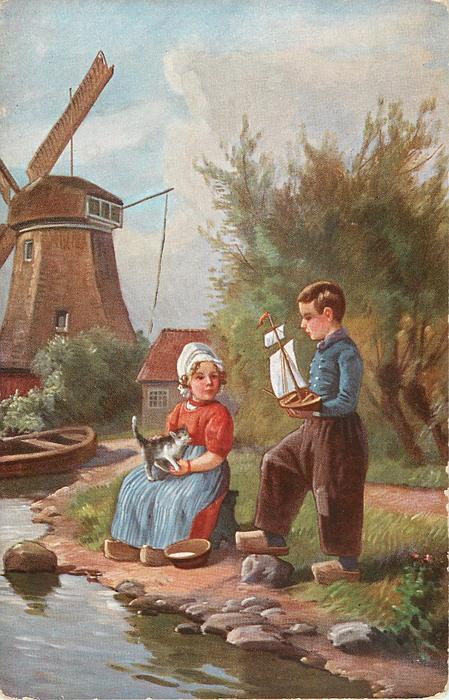 boy holds up boat, girl with cat on lap ,windmill left
