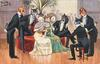 5 male cats in evening dress cluster round two females seated  under a potted palm