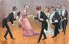 3 couples of cats in evening dress moving left are greeted by single cat facing right