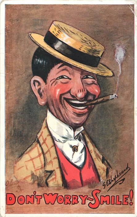 black haired man smoking cigar,in panama hat,looks right