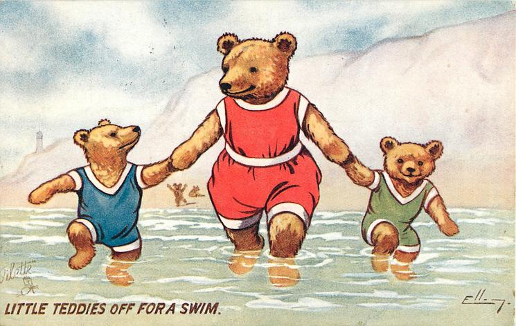LITTLE TEDDIES OFF FOR A SWIM
