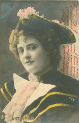 head & shoulders study of girl wearing three cornered hat facing partly left, looking front