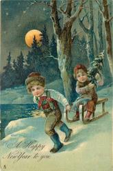 A HAPPY NEW YEAR TO YOU  boy pulls girl carrying Xmas tree on sled, moonlight