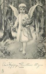 A HAPPY CHRISTMAS TO YOU  angel carries flowers in right hand & basket in snow