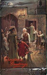 CHRISTMAS GREETINGS  bell ringers in old style dress