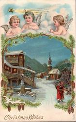 CHRISTMAS WISHES 3 angels & star of Bethlehem over insert winter scene, Santa on lighted village street coming front