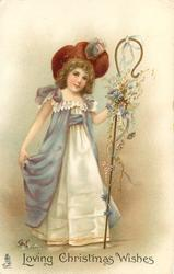 LOVING CHRISTMAS WISHES or HAPPY CHRISTMAS  girl in mauve & white dress, with deep red hat, carries flowery shepherds crook