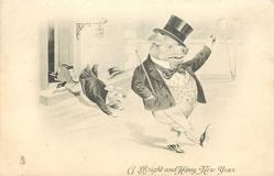 A BRIGHT  AND HAPPY NEW YEAR  one drunken pig walks right another being kicked over threshold
