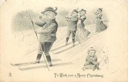 TO WISH YOU A MERRY CHRISTMAS  four pigs ski downhill, piglet on sled