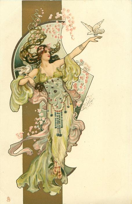woman in light green & purple, dove on outstretched hand & right upper arm
