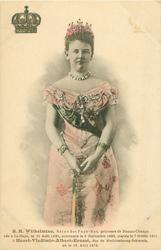 S.M. WILHELMINE, REINE DE PAYS-BAS, PRINCESS DE NASSAU-ORANGE, NEEA LA-HAYE, LE 31 AUT 1880, COURONNEE LE 6 SEPTEMBRE 1898, MARIEE LE 7 FEVRIER 1901 A HENRI-VLADIMIR-ALBERT-ERNEST, DUC DE MECKLEMBOURG-SCHWERIN, NE LE 19 AVRIL 1876 crown upper left