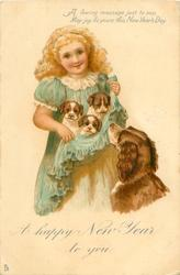 A HAPPY NEW YEAR TO YOU  girl holding 3 puppies in her skirt, mother observes