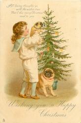 WISHING YOU A HAPPY CHRISTMAS  boy holds pug puppy up to Christmas tree, mother pug below