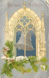 CHRISTMAS GREETINGS  church bell in archway, pine tree branches, silver background
