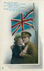 NEAR OR FAR APART//YOU ARE BY MY SIDE  soldier & his lady caress looking front, flag above
