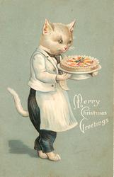 MERRY CHRISTMAS GREETINGS white cat in apron carrying decorated cake