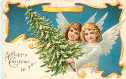 A HAPPY CHRISTMAS TO YOU  two angels & Xmas tree