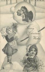 LOVING CHRISTMAS WISHES  two small girls with mistletoe in front of snowman, woman's face inside his head