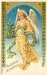 CHRISTMAS GREETINGS  angel in yellow dress & holds mini Christmas tree in right hand
