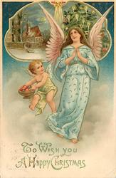 TO WISH YOU A HAPPY CHRISTMAS  angel in blue and cherub with bowl of fruit, inset of chuch & Xmas tree above